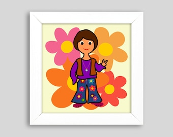 Flower Power', small graphic in the frame, 18 x 18 cm, a gift for party friends and all children (of the 70s)