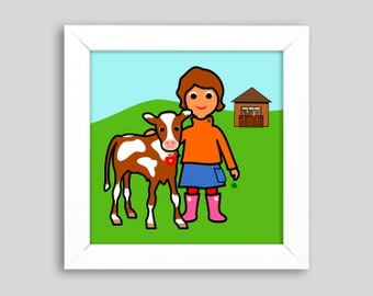 Heidi', small graphic in the frame, ges. 17.4 x 17.4 cm, a children's picture with calves for girls