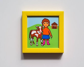 Heidi' - Mini, small graphic in the frame, ges. 12.3 x 12.3 cm, a children's picture with calves for girls