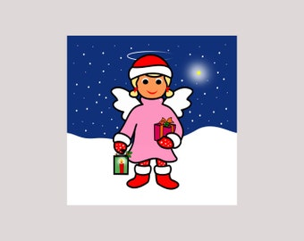 Angel & Starlet' - Minicard - 10 x 10 cm, set of 3, card + envelope, cute little Christmas wishes