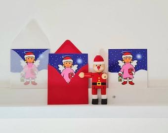 Weihnachtskarten-Set 'Engelchen & Sternchen', Minikarte, 3er-Set, Karte + Umschlag, 10x10cm, niedliche Weihnachtsgrüße für Mädchen