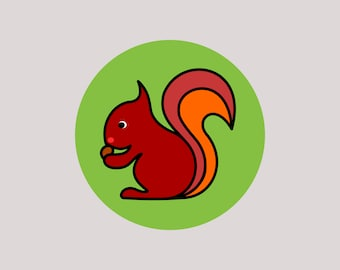 12 pcs. round and colorful stickers, stickers, squirrels, Ø 5 cm, to beautify and delight