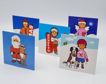 Christmas card mix for children, 5 pcs., mini, + 5 pcs. envelope (transparent), 10 x 10 cm
