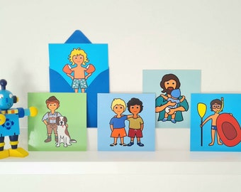 Boys motif card mix, mini, 5 pcs. card + envelope, blue, 10 x 10 cm, colorful and cheerful for different occasions