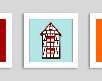 Beautiful view' - Mini, a small graphic in the frame, 12 x 12 cm, for moving in, moving or moving out