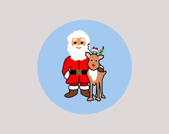 12 pcs round Santa Claus reindeer stickers, stickers, Ø 5 cm, for decorating gifts or wrapping sweets