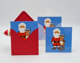 Set of 3, 'The Masked Santa', 3x minicard + 3x envelope, proud and colorful Christmas greetings for children