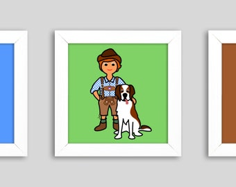 Freunde' - Mini, a small graphic in the frame, 12 x 12 cm, a children's picture for hiking and dog lovers