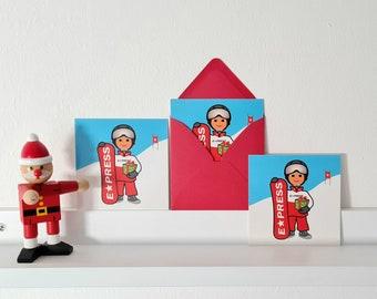 Weihnachtskarten-Set 'Express*' - Minikarte - 3er-Set, Karte + Umschlag, 10x10cm, eine Weihnachtskarte für kleine Wintersportler