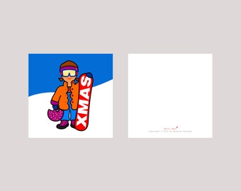 Christmas card set 'Merry Xmas' - mini card - 10 x 10 cm, set of 3, card + envelope, small sporty Christmas greetings
