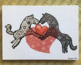 """Post Card """"Horse Heart / Ying Yang"""""""