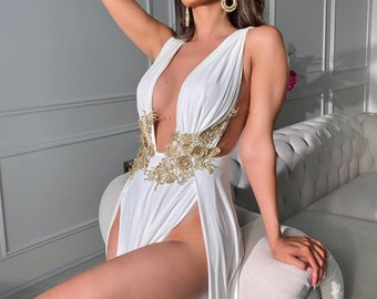 CLEOPATRA Inspired Gown Plunging Neckline Side Slits Cinched Waist Pleated Dress Long Women