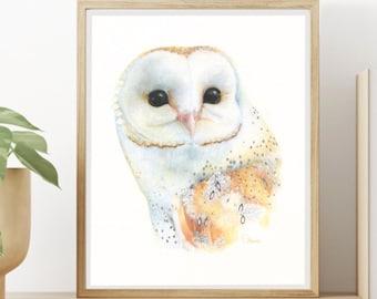 Animal Print, Barn Owl, Wall Decor, Nursery Room Decor,  Watercolor Painting, High Resolution Digital Download, Digital Print, Nursery Gift