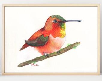 Animal Print, Hummingbird, Wall Decor, Nursery Room Decor, Watercolor Painting, High Resolution Digital Download, Digital Print, Nursery Art