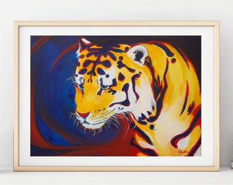 Living Room Wall Art, Tiger Painting, Rorschach Test, Digital Print, Cute Tiger Wall Art, Animal Illustration, Office Room Wall Hanging,