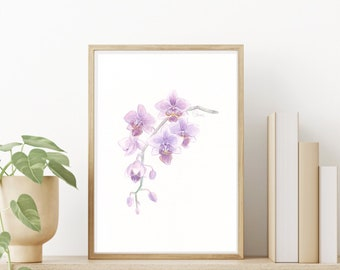 Nature Art Print, Watercolor Painting, Purple Orchid, Small Orchid Illustration, Fine Art Decor, Flower Wall Hanging, Living Room Wall Art