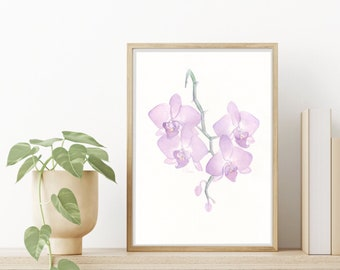 Watercolor Orchid Illustration, Nature Art Print, Purple Orchid Painting, Fine Art Decor, Flower Wall Hanging, Living Room Wall Art