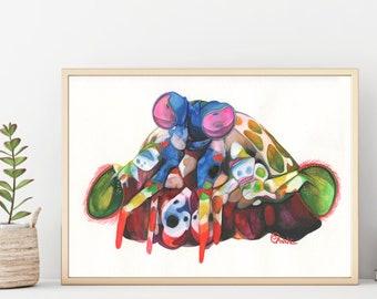 Animal Print, Mantis Shrimp, Wall Decor, Beach House Decor,  Watercolor Painting, High Resolution Digital Download, Digital Print, Nautical