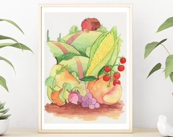 Fruit Watercolor Painting, Food Painting Kitchen Wall Decor, Farm Kitchen Wall Hanging, Food Art, Country Home Decor, Farmhouse and Hills