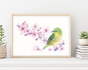 Cherry Blossom Watercolor Painting, Painting Of Bird, Japanese Wall Art, Pink Flower Painting, Flower Art Prints, Living Room Wall Decor
