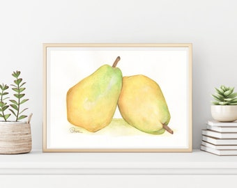 Fruit Watercolor Painting, Green Pear Painting Kitchen Wall Decor, Kitchen Wall Hanging,  Fine Art, Digital Print, Home Decor, Fruit Art,