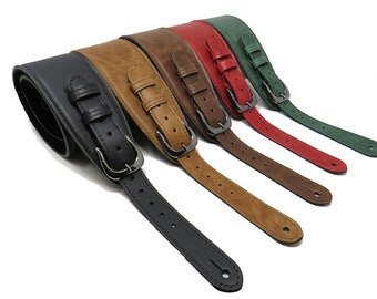 Buckled Leather Softy Guitar Strap / Bass Guitar / Electric Guitar / Sponge Comfy Strap / Guitarist Gift