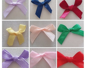 Small Satin Ribbon Bows Pack of 20 Pieces Assorted Colours Gold Silver Metallic Tartan Sewing Crafting Cardmaking Scrapbooking Knitting