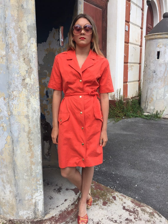 CÉLINE orange dress