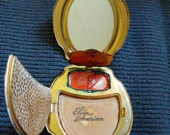 Elgin American powder compact with lipstick gold tone with original lipstick and original powder Puff