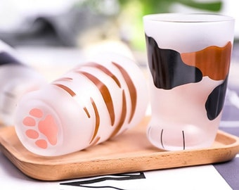 Cute Cat Paw Matte Glass Mug Children Milk Coffee Drink bottle Foot Cup 300ml, Perfect Gift for Cat Person
