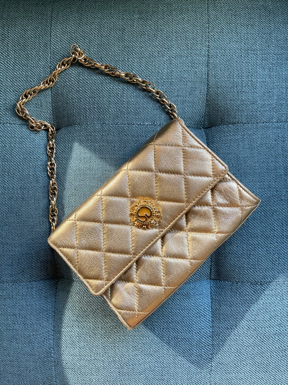 St. John Signed Gold Quilted Clutch Bag 80s