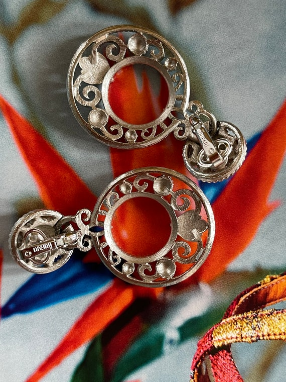 VTG Crown Trifari Silver Filigree Clip On Earrings - image 7