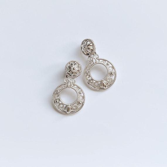 VTG Crown Trifari Silver Filigree Clip On Earrings - image 1