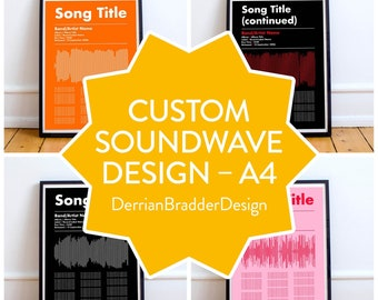 CUSTOM | A4 Typographic Soundwave & Song Lyric Poster |Two colours