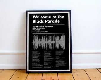 DIGITAL DOWNLOAD | A4 Typographic Soundwave & Song Lyric Poster | Emo Poster | MCR | Black Parade