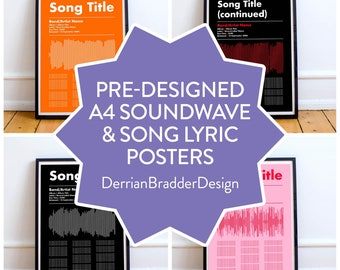 A4 Typographic Soundwave & Song Lyric Poster | Emo Poster