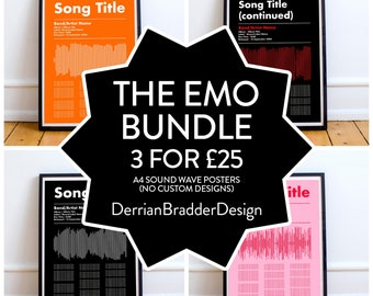 THE EMO BUNDLE | A4 Typographic Sound Wave & Song Lyric Poster | 3 x A4 posters