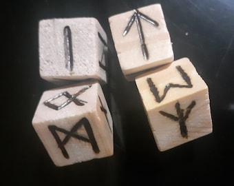 Woodburned Rune Dice Set
