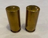Trench Art Salt and Pepper shakers made from 20mm shells dated 1943