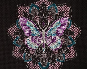 """Cross stitch kit (thread) """"Insects"""" Abris Art, beadwork Butterfly, Night Moth. set of tapestries. needlework, long stitches. DIY masterpiece"""