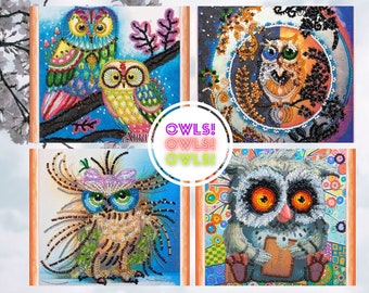 """Kit for embroidery with beads on natural art canvas """"Owls!"""" Abris Art, Multi-colored Owls, Day and Night, Owl with a Bow, Owl with cookies"""
