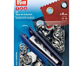 Prym eyelets with discs, silver-coloured, 8 mm