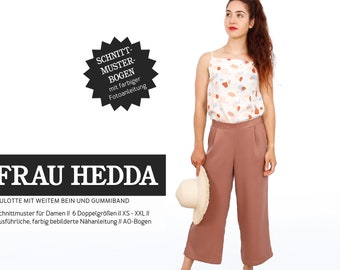 Mrs. HEDDA Culotte with wide leg and rubber waistband - Paper pattern by Studio Schnittreif - Size XS- XXL on A0 sheet