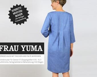 Mrs. YUMA Dress with Back Fold - Paper Pattern by Studio Schnittreif - Size XS- XL on A0 sheet