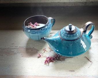 Jug Oriental Single Piece Dishwasher Safe Handmade Tea Deco Tableware Kitchen Single Piece Turquoise Ekkeft Glaze Geschenidee