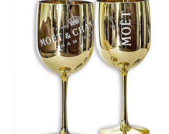 2 Moet and Chandon Gold Acrylic Champagne Goblet Glasses in a Gifts with Gusto Gift Box