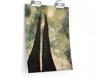 Towering Oak - Watercolour & Ink Matte poster