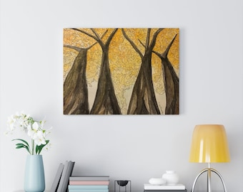 Golden Maple - Watercolour and Ink Canvas Gallery Wraps