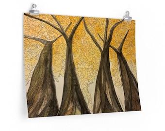 Golden Maple - Watercolour & Ink Print