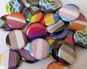 LGBTQ+ Flag Button Badges (25mm)